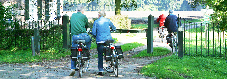 Fietsroute Reestdal met fietsers die Arthuur fietsroute het Vechtdal fietsen.